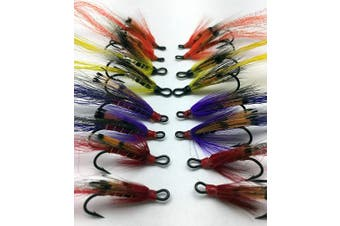 BestCity Fly Fishing Salmon Flies Ally's Set Double Hooks sizes 4-10 pack of 16 flies