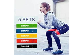 (5Color) - Lintelek Resistance Loop, Resistance Exercise Bands with Instruction Guide for Stretching Pilates, CrossFit in Natural Latex, Carry Bag, Set of 5 with power(2.3lb-9.1kg)