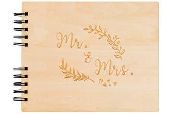 (22cm , Black) - Creawoo 8.5'' Mr & Mrs Wooden Guest Book Album Memory Keepsake for Wedding Anniversary Birthday with 80 Pages Blank Black Cardstocks - Love Story Scrapbook