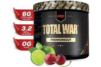 (Cherry Lime) - Redcon1 - Total War - Preworkout - All New (15 Servings) (Cherry Lime) Boost Energy, Long Lasting Endurance, Laser Like Focus, Citrulline Malate, Beta-Alanine, Keto Friendly