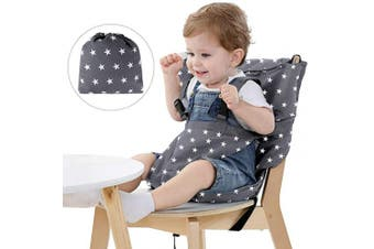 (Grey) - Easy Seat Portable High Chair Safety Washable Cloth Harness Travel High Chair for Infant Toddler Feeding with Adjustable Straps Shoulder Belt (Grey)