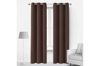 (42Wx72L Inch, Chocolate) - Deconovo Thermal Insulated Curtains Room Darkening Grommet Curtain Panels for Living Room 110cm x 180cm Chocolate 1 Curtain Pair