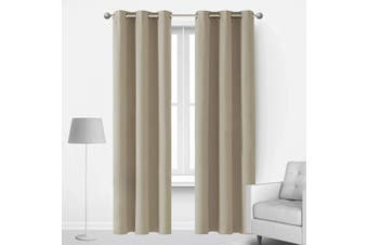 (42Wx90L Inch, Beige) - Deconovo Thermal Insulted Blackout Bedroom Curtains Room Darkening Curtain Panels for Living Room 110cm x 230cm Beige