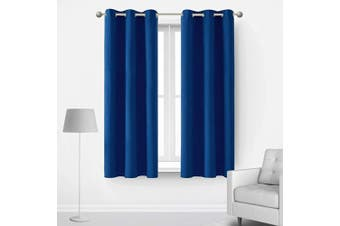 (42Wx63L Inch, Royal Blue) - Deconovo Royal Blue Blackout Curtains Room Darkening Heat Insulated Window Set Noise Reducing Light Heat Cold Blocking Drapes for Bedroom Living Room Kitchen, 2 Panels, Each 110cm x 160cm , Royal Blue