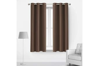 (42Wx45L Inch, Brown) - Deconovo Thermal Insulted Blackout Bedroom Curtains Room Darkening Curtain Panels for Living Room 110cm x 110cm Brown