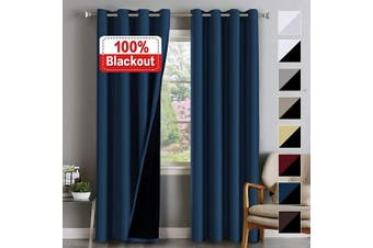 (130cm  x 240cm , Navy) - Flamingo P 100% Blackout Curtains for Bedroom Double Layer Curtains Thermal Insulated Blackout Curtains in Pairs Light Blocking Curtains for Living Room, Thick Lined Panels, Navy Blue, 130cm W x 240cm L