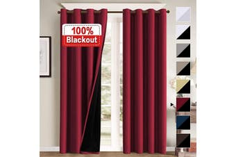 (130cm  x 240cm , Cardinal) - 100% Blackout Curtains for Bedroom Energy Saving Pair Curtains for Sliding Doors Thermal Insulated Blackout Curtains with Liner, Double Layer Lined Curtains 240cm Length, Cardinal Red