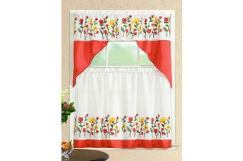 (Swag Valance, Spring Flowers) - All American Collection Modern Contemporary 3pc Embroidered Home Kitchen Window Treatment Curtain Set (Swag Valance, Spring Flowers)