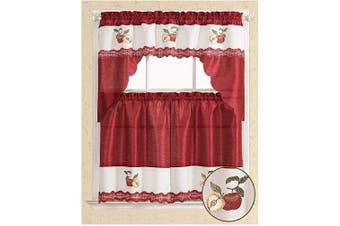 (Swag Valance, Red Apples) - All American Collection Modern Contemporary 3pc Embroidered Home Kitchen Window Treatment Curtain Set (Swag Valance, Red Apples)