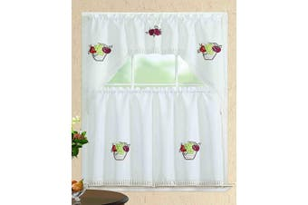 (Swag Valance, White Fruit Basket) - All American Collection Modern Contemporary 3pc Embroidered Home Kitchen Window Treatment Curtain Set (Swag Valance, White Fruit Basket)