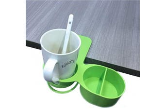 (1 Pack(new Type Green)) - Supercope New Type Drinking Cup Holder Clip- 2019 Latest Model Chair and Table Bottle Cup Clip The DIY Glass Clamp Water Coffee Mug Holder Clip with Extra Storage Tray Design for Home & Office,Green