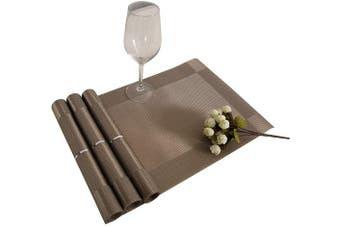 (Champagne) - Deconovo Set Durable Prime PVC Non-Slip Waterproof Reusable Placemats for Kitchen Stain-Resistant Mats for Table, 30cm x 46cm , Champagne