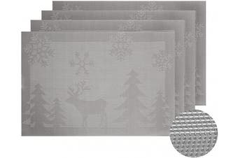 (Silver Reindeer) - Deconovo Woven Vinyl Washable Stain-Resistant Place Mats Kitchen PVC Heat Insulation Placemats for Table, 30cm x 46cm , Silver Reindeer