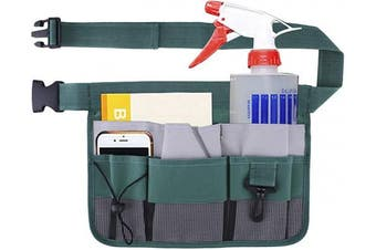 (Green) - Geboor Gardening Tool Waist Bag Belt Heavy Duty Oxford Tool Apron with 7 Pockets of Different Sizes and Depth (Green)