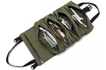 (Army Green) - Super Roll Tool Roll,Multi-Purpose Tool Roll Up Bag, Wrench Roll Pouch,Canvas Tool Organiser Bucket,Car First Aid Kit Wrap Roll Storage Case,Hanging Tool Zipper Carrier Tote,Car Camping Gear