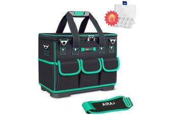 (41cm  Heighten) - AIRAJ 41cm Waterproof Tools Bag Close Top Heavy Duty Moulded Base Tool Teto with Square & Triangle Shapes for Men (Green & Black)