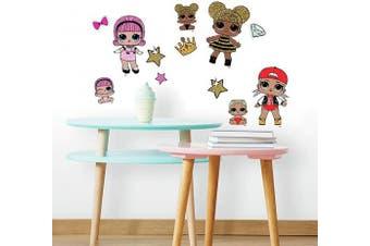 L.O.L. Surprise RoomMates Lol Surprise Peel And Stick Wall Decals, Pink, Tan, Peach, Aqua, Purple, 4 Sheets 23cm x 44cm - RMK3888SCS