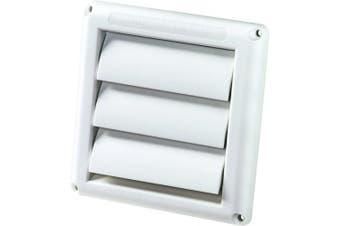 (10cm ) - Deflecto Supurr-Vent Louvred Outdoor Dryer Vent Cover, White, 10cm Hood (HS4W/18)