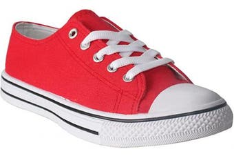 (5 UK, Red) - Ladies Womens Lace Up Flat Canvas Girls Retro Baseball Sneaker Plimsolls Trainers Pumps Shoes UK Sizes 4-9