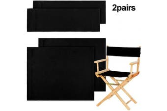 (Black) - 2 Set Casual Directors Chair Cover Kit, Replacement Canvas Seat and Back Cotton Canvas Stool Covers for Home Director Chair (Black)