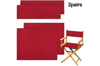 (Red) - 2 Set Casual Directors Chair Cover Kit, Replacement Canvas Seat and Back Cotton Canvas Stool Protector for Home Director Chair (Red)