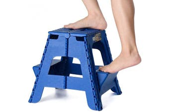 (Blue) - Acko 2-in-1 Dual Purpose Folding Step Stool Two Step Ladder Durable Plastic Folding Stool with Pedal Easy Storage 15 Inches Height 140kg Capability Blue
