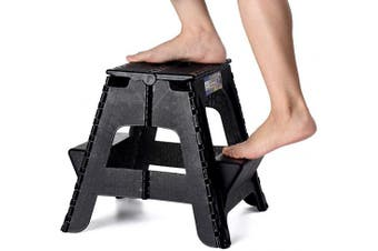 (Black) - Acko 2-in-1 Dual Purpose Folding Step Stool Two Step Ladder Durable Plastic Folding Stool with Pedal Easy Storage 15 Inches Height 140kg Capability Black