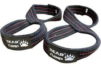 (Black, L) - BEAR GRIP - Figure 8 Weight Lifting Straps Elite Edition