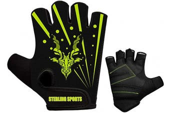 (Black Green, XL) - Sterling Sports Weight Lifting Gloves Gym Workout Training Fitness Bodybuilding Exercise Cycling/Biking/Bike,Track Cycling, Road Cycling Mountain Bike BMX Motorcycle Driving Jogging Hiking