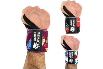 (F-PURPLE, 13.0 Inches) - BEAR GRIP - SPECIAL EDITION Premium weight lifting wrist support wraps, (Sold in pairs)