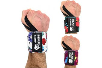 (F-WHITE, 13.0 Inches) - BEAR GRIP - SPECIAL EDITION Premium weight lifting wrist support wraps, (Sold in pairs)