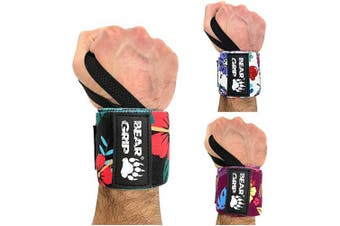 (F-BLACK, 13.0 Inches) - BEAR GRIP - SPECIAL EDITION Premium weight lifting wrist support wraps, (Sold in pairs)