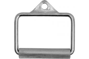 BodyRip Stirrup Handle with Textured Chrome Handle Multi Gym Cable Crossover Machine Power Cage Attachments, Silver