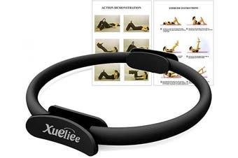 (Black 38cm) - Xueliee Pilates Double Handle Ring - Dual Grip Magic Exercise Fitness Circle to Burn Fat, 15 Inch/38cm