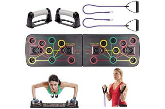 (with Resistance Rope) - Risefit Push Up Board - 9 In 1 Body Building Rack Fitness Comprehensive Exercise Workout Board Gym Training Muscle Board Home Gym Fitness Equipment