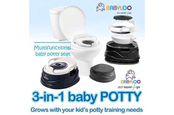 (Jet Black) - Babyloo Bambino Baby Potty 3-in-1 Multi-Functional Children's Toilet Training Seat - 3 Convertible Stages for 6 Months and up (Jet Black)