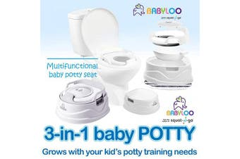 (White) - Babyloo Bambino Baby Potty 3-in-1 Multi-Functional Children's Toilet Training Seat - 3 Convertible Stages for 6 Months and up (White)