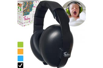 (Black) - Fridaybaby Baby Ear Protection (0-2+ Years) - Comfortable and Adjustable Noise Cancelling Baby Ear Muffs for Infants & Newborns | Baby Headphones Noise Reduction for Aeroplanes Fireworks Concert, Black