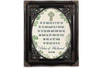 (Black Floral Cutout) - Cottage Garden Palm of His Hand Irish Blessing Black Floral Cutout 8 x 10 Table Top and Wall Photo Frame