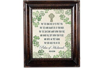(Burlwood Rope Trim) - Cottage Garden Palm of His Hand Irish Blessing Burlwood Rope Trim 8 x 10 Table Top and Wall Photo Frame
