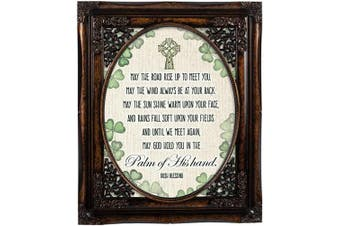 (Burlwood Floral Cutout) - Cottage Garden Palm of His Hand Irish Blessing Burlwood Floral Cutout 8 x 10 Table Top and Wall Photo Frame