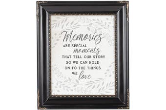 (Black Rope Trim) - Cottage Garden Memories are Special Moments Black Rope Trim 8 x 10 Table Top and Wall Photo Frame