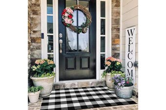 (90cm  x 150cm , Black and White) - EARTHALL Buffalo Plaid Rug Outdoor 0.9mx 1.5m, Cotton Hand-Woven Chequered Door Mat, Washable Outdoor Rug Farmhouse/Kitchen/Front Porch/Living Room/Laundry Room/Bathroom/Bedroom (90cm x 150cm )