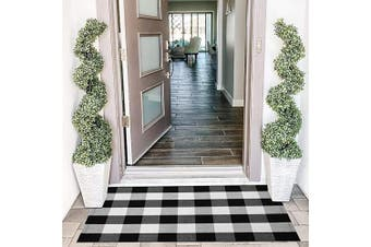 (70cm  x 110cm , Black and White) - EARTHALL Buffalo Plaid Rug Outdoor 70cm x 110cm Cotton Hand-Woven Chequered Door Mat, Outdoor Rugs for Layered Door Mats Porch/Kitchen/Farmhouse Black and White
