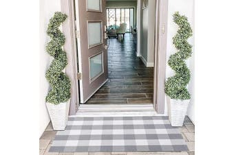 (70cm  x 110cm , Grey and White) - EARTHALL Buffalo Plaid Rug Grey 70cm x 110cm Cotton Hand-Woven Chequered Door Mat, Outdoor Rugs for Layered Door Mats Porch/Kitchen/Farmhouse Black and White