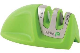 (Green) - KitchenIQ 50881 Edge Grip 2-Stage Knife Sharpener, Green