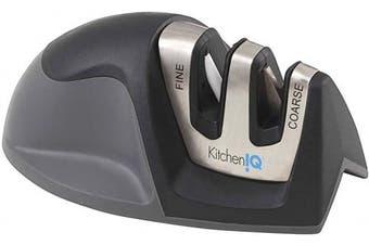(Black) - KitchenIQ 50009 Edge Grip 2-Stage Knife Sharpener, Black