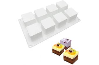 (3D Small Square) - Joho Baking Silicone Moulds for Cake Square, Dessert Moulds for Pastry Mousse Chocolate Truffle,3D Cube Shapes,8-Cavity