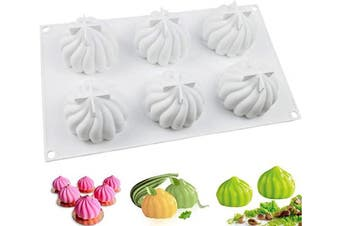 (3D Pumpkin) - JOHO BAKING Silicone Moulds for Mousse Cake, 3D Silicone Baking Mould Cakes, Dessert Mould for Pastry Chocolate Truffle, Pumpkin Shapes, 6-Cavity