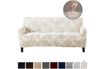 (Sofa, Silver Cloud - Toile) - Velvet Plush Stretch Sofa Slipcover. Velvet Sofa Couch Furniture Protector, Soft Anti-Slip, High Stretch for 3 Seat Sofa. (Sofa- 3 Seater, Silver Cloud - Toile)